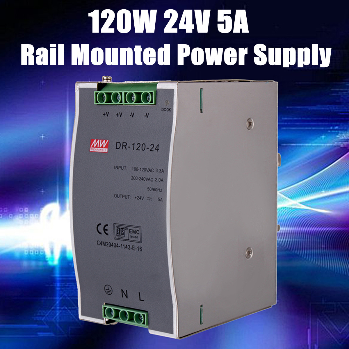 120W Din Rail Mounted 24VDC 5A Output Power Industrial Metal Switching Power Supply Supplier Steady Power Supply Enclosure Smps