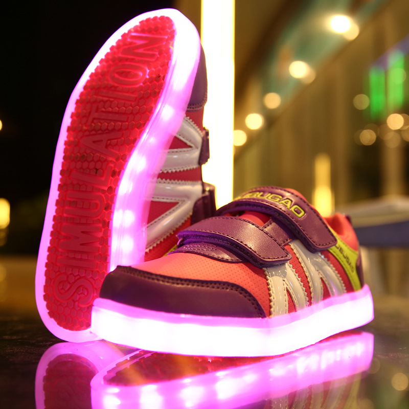 Children'S Shoes Usb Charge LED Lights Sneaker Emitting Flashing Shoes Girls/Boys Kids Baby Sports Shoes, Fashion Casual Shoes 25 40 size usb charging basket led children shoes with light up kids casual boys