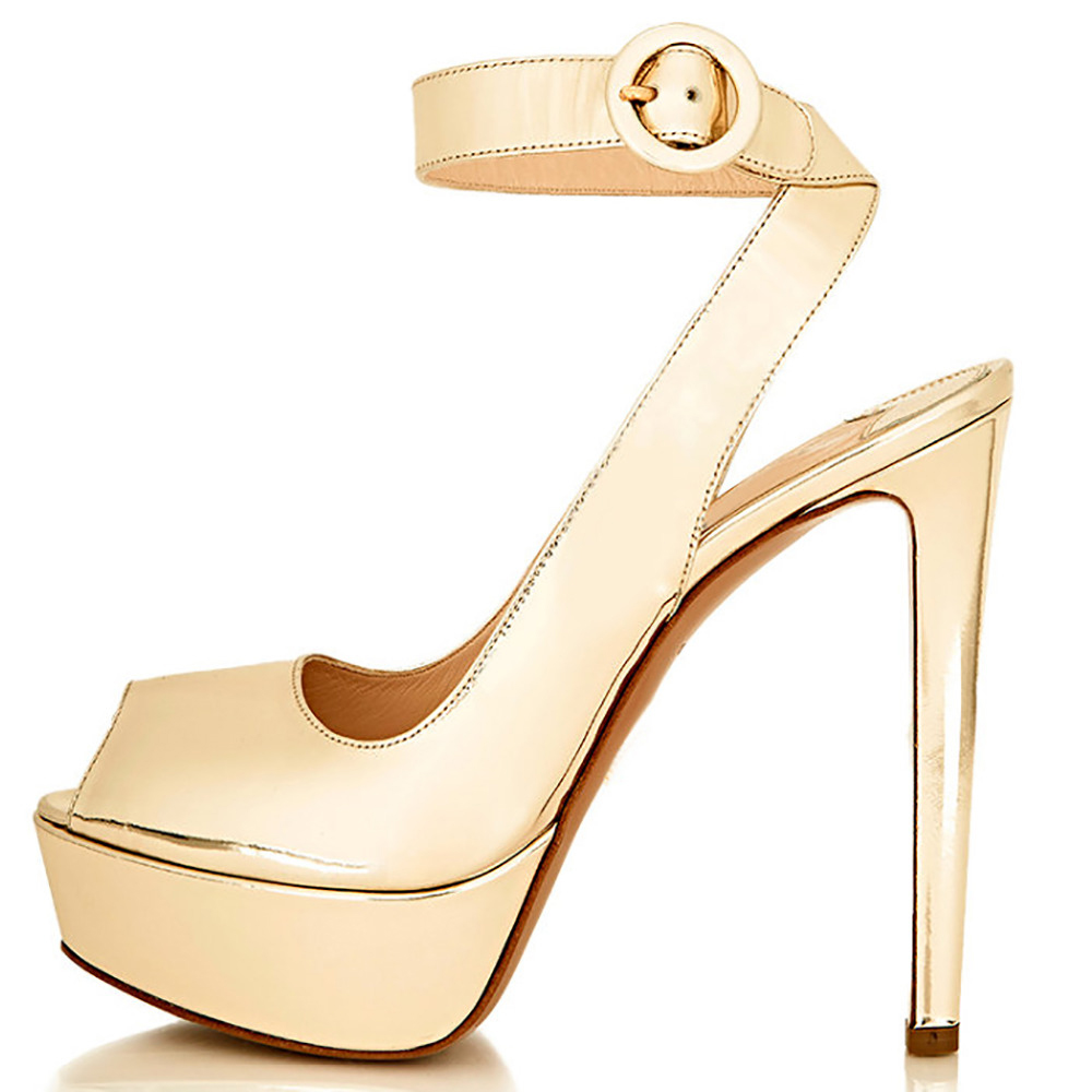 87c06eb6a899 Gold Black Suede Ankle Strap Peep Toe 3cm Platform Pumps 14cm High Heels  Sandals Shoes For Woman Plus Size 16 Nancyjayjii -in Women s Pumps from  Shoes on ...