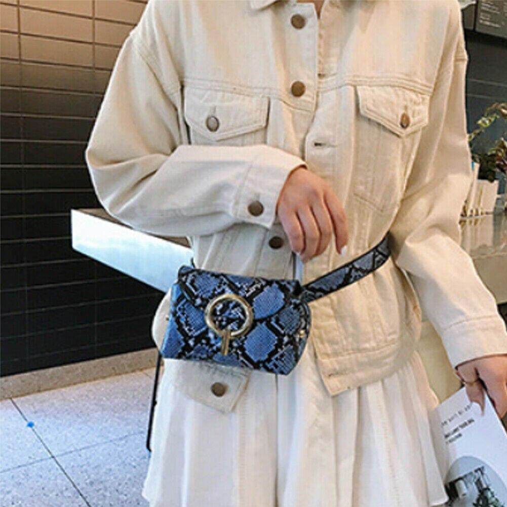 Ladies Leather Snakeskin Print Cross Body Messenger Bag Women Waist Over Bags Waist Packs