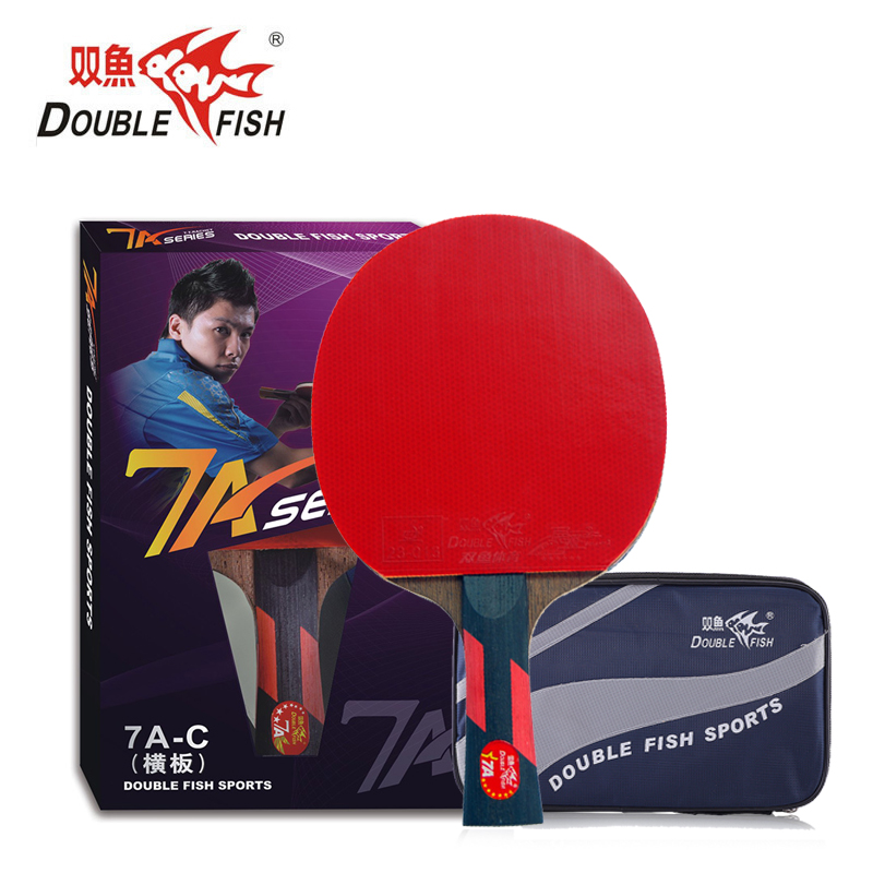 Double Fish 7 Stars 5 Layers Pro Table Tennis FL Handle Rackets Wenge Wood Racquet PingPong Bats Fast Attack With Racket Bag
