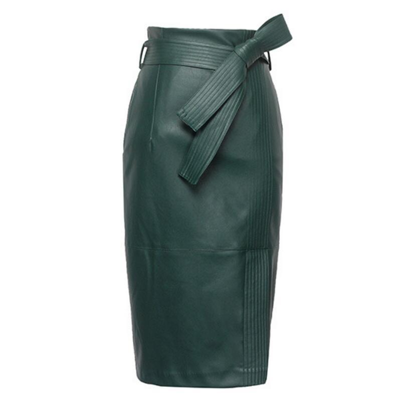 3XL 4XL PU falda de cuero de las mujeres más el tamaño otoño invierno sexy de cintura alta de imitación de cuero faldas para mujer con cinturón de moda falda lápiz
