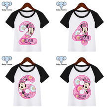 Girl Cartoon Mouse Birthday Numbers 1-9 Print T Shirt Funny Clothes Children Summer T-shirt  Kids