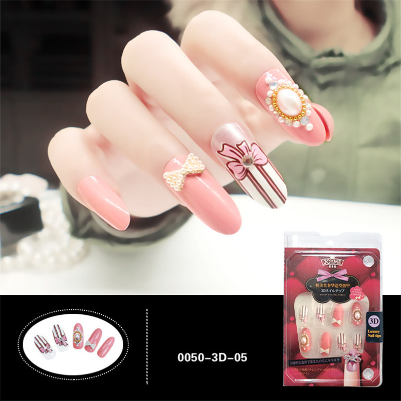 Aliexpress Buy New Pearl False Nails With Designs Long Round