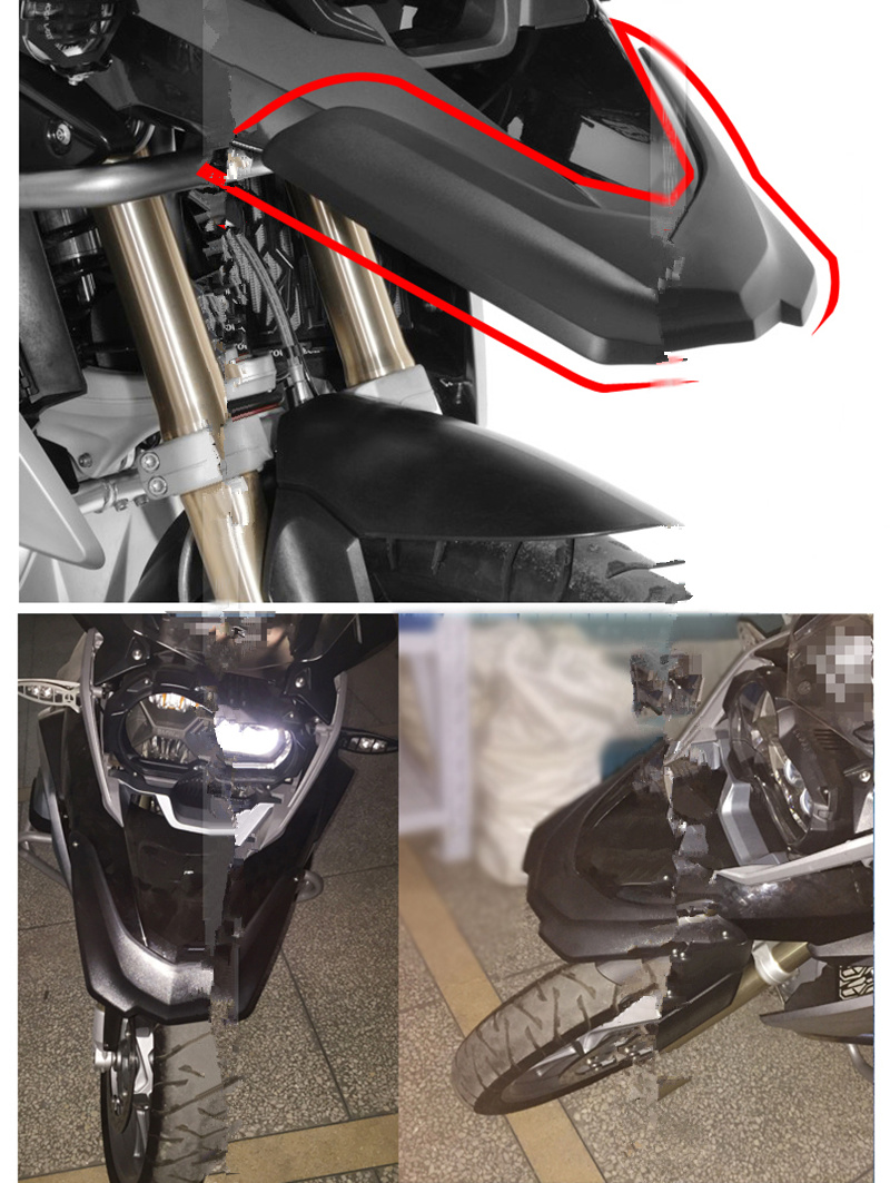 Motorcycle Front Fender Beak Extension Wheel Cover Cowl for Bmw Motorcycle R1200GS LC 2013-2016 R1200GS LC Adventure 2014-2016,Black