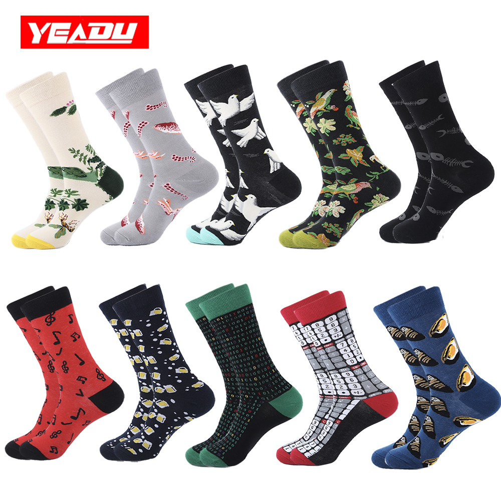 YEADU 10 Pairs/Lot Colorful Cotton Mens Socks Funny Dress Flower Bee Beer Pigeon Punk Socks for Men Big Size