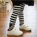Children trousers Cartoon printing cotton Black  white stripe girls leggings  2-7 years old Children pants girl pants