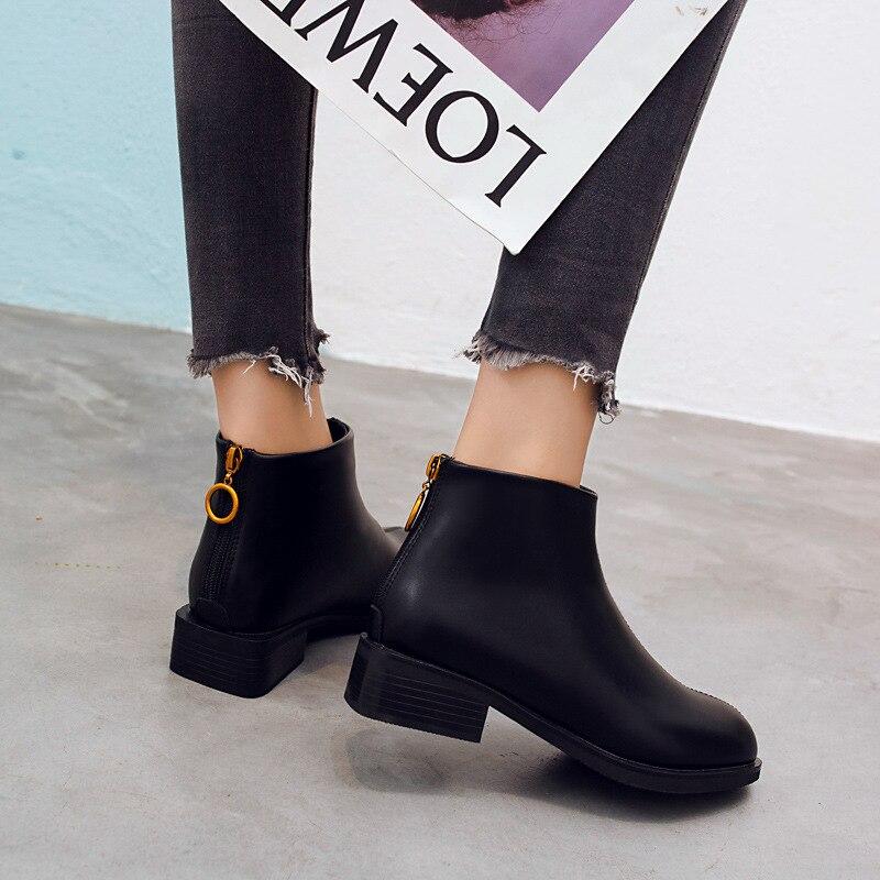 Cuero 2018 35 Botas De Dfv56 Tobillo Otoño Cremallera Mujeres Plana 39 Mujer Zapatos Para Tamaño Las Negro Del v1vrwOdqx