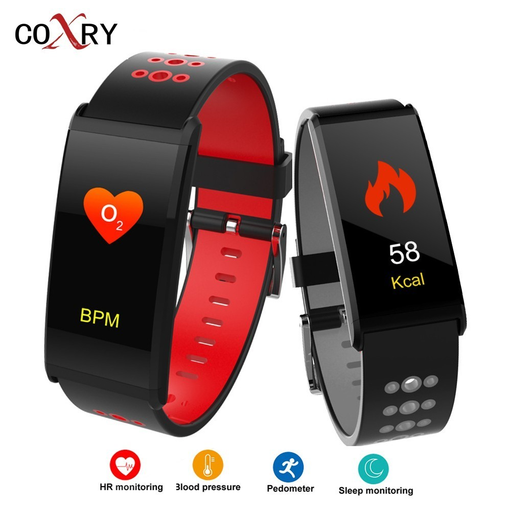 COXRY Fitness Smart Watch Women Digital Watches Blood Pressure Sports Heart Rate Pedometer Sleep LED Calorie Counter Wrist Watch