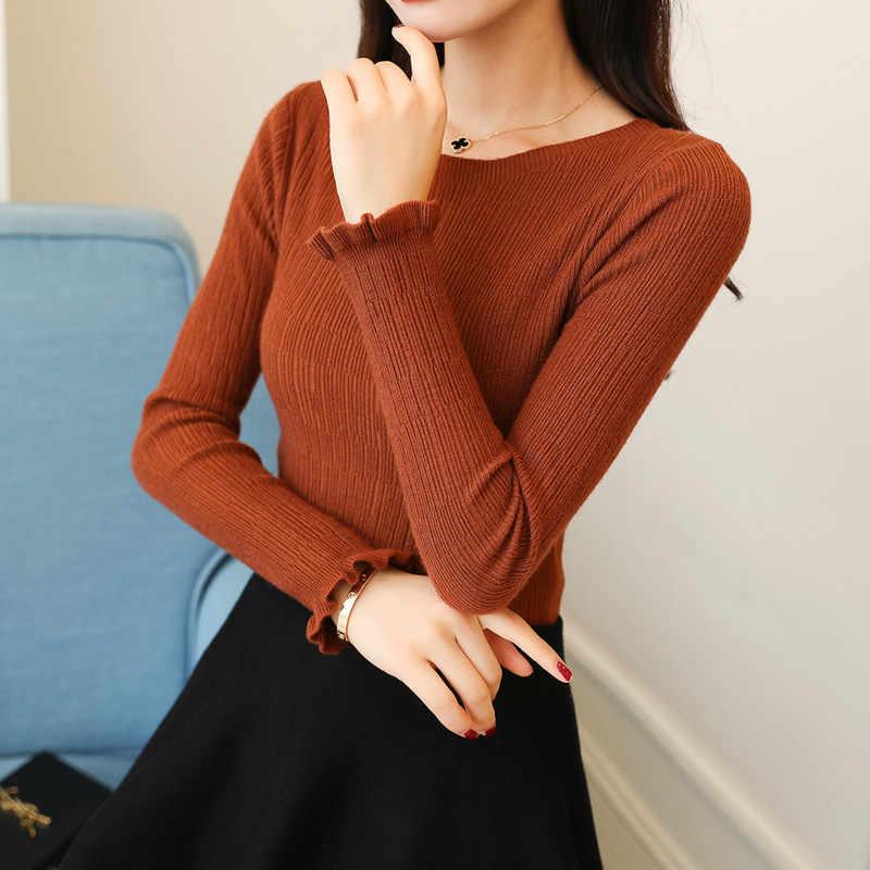"""Майки Mujer Invierno осенние женские свитера и пуловеры с вырезом лодочкой длинный рукав """"Бабочка"""" сексуальные тонкие Pull Femme Hiver"""