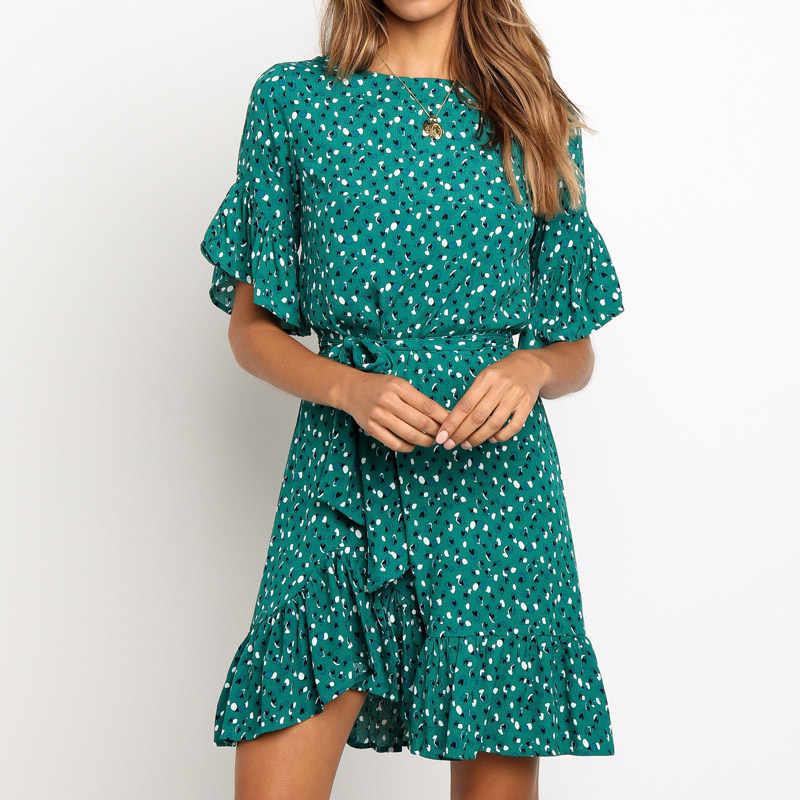 Платье с оборками и цветочным принтом, женское летнее платье с коротким рукавом и О-образным вырезом, женское мини пляжное платье в стиле бохо