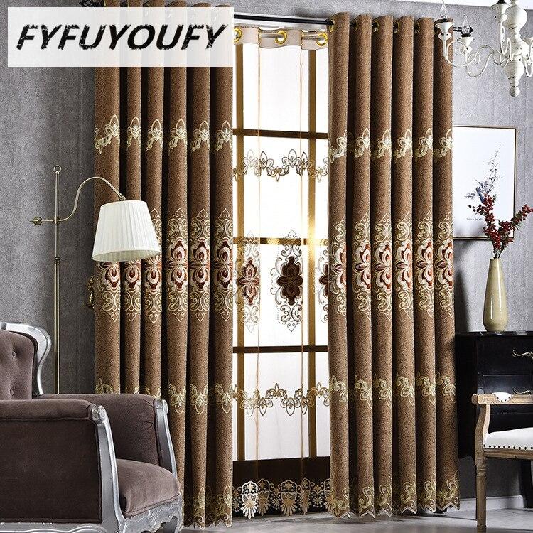 unid de lujo jacquard chenilla cortinas para la sala de estar cortinas gruesas para comedor