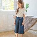 Hombro tops sueltos pantalones de algodón niñas establece verano 2017 blanco negro pequeño adolescente niñas sistemas de la ropa de tamaño 10 11 12 13 14
