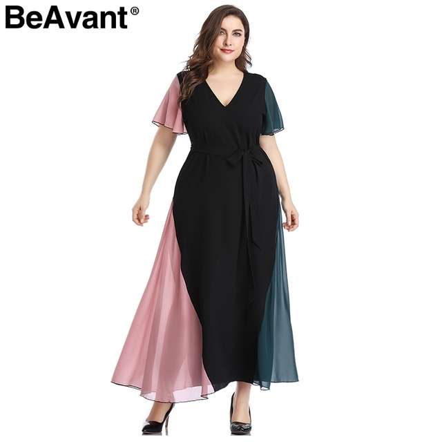 BeAvant Elegant v neck plus size dress women Black butterfly sleeve summer female maxi dress Casual party club ladies dresses 1