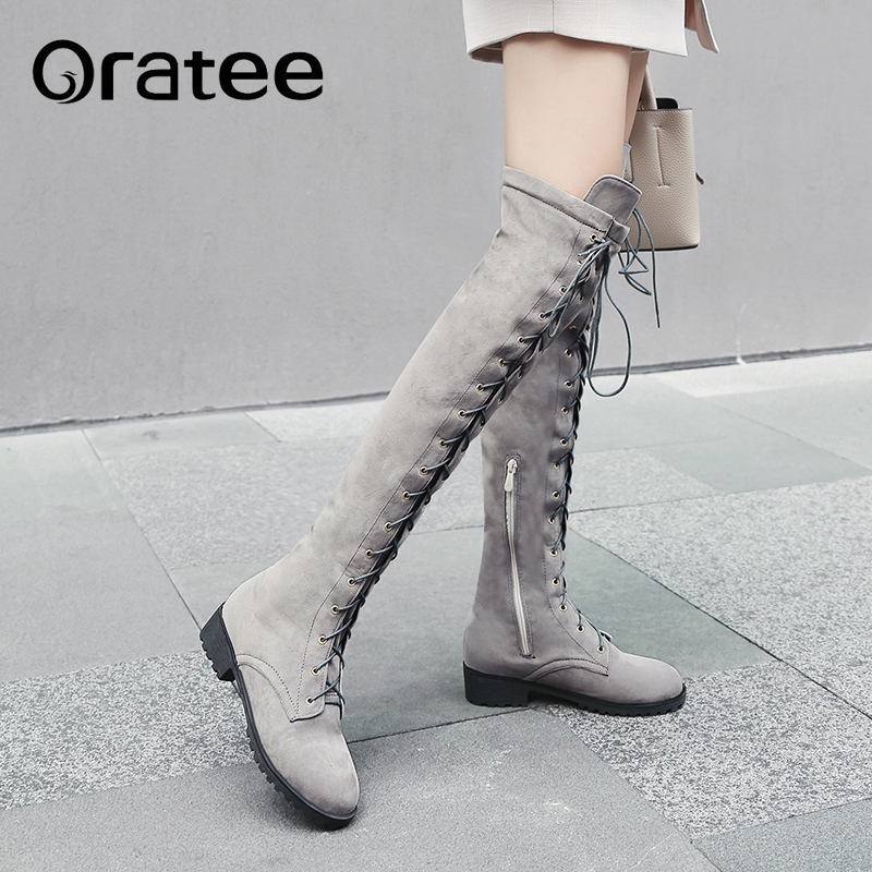 New Fashion Lace Up Over Knee Boots Women Boots Flats Shoes Woman Square Heel Winter Thigh High Snow Boots Plus Size 33 43 Over The Knee Boots Aliexpress