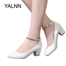 YALNN New Womens High Heels Pumps Sexy Bride Party Thick Heel Round Toe leather High Heel Shoes for office lady Women