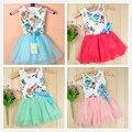 2016 bebés del verano se visten con la cinta del niño del verano floral tutú bailando vestido de las niñas vestidos de los niños del bebé ropa