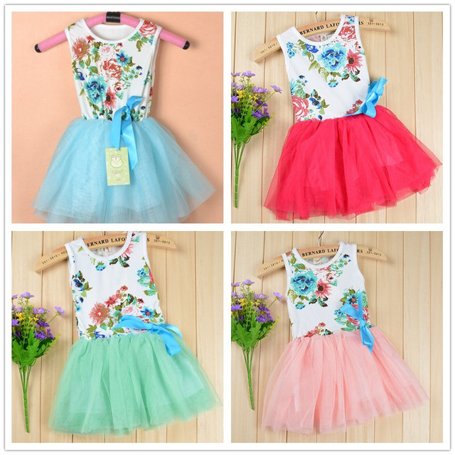 2016 summer baby girls dress with ribbon summer toddler floral dancing tutu dress for girls children's dresses kids baby clothes