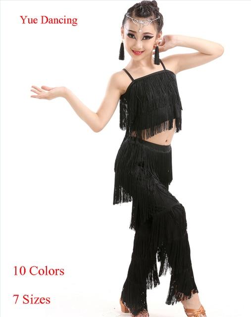 ae61e75587e14 Junior Latin Samba Dancewear frange enfant fantaisie Salsa vêtements Latin  danse Costume enfants danse robe Latino