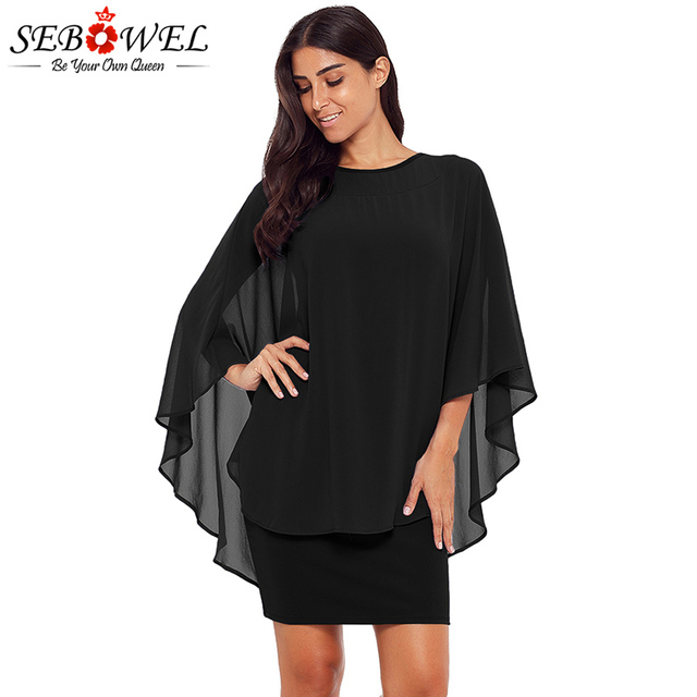 SEBOWEL 2018 Black Slinky Sexy Gauze Mini Party Dress Women Plus Size Casual  Loose Pencil Dress 770b05f69634