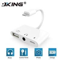 3 в 1 адаптер конвертер для Lightning до 3,5 мм аудио OTG USB 3,0 камера считыватель с зарядным портом для iphone XS XR iPad/iPod