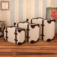 Creative Retro Leather Wooden Suit Box Clothes Storage Box Luggage Case Home Decoration Vintage Photography Props Window Display