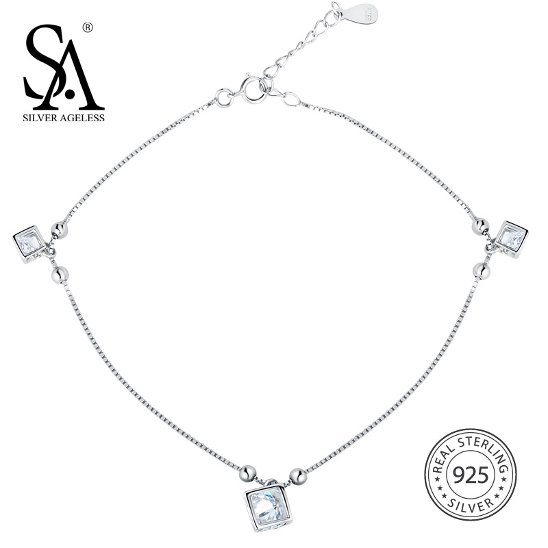 SILVER AGELESS 925 Sterling Silver Rubik Cube Anklets for Women Fine Jewelry Foot Chain Ankle Bracelet Charms Adjustable