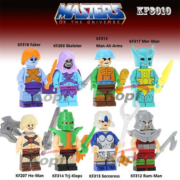 KF8010 Super Heroes Building Blocks Masters of the Universe Faker Sheletor Man-At-Arms Mer-Man Action For Children Gift Toys super heroes single sale the villain of yellow lantern skeletor heman he man he man building blocks toys for children gift kf921