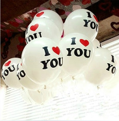 Free Shipping Wholesale Best Quality 100pcs 12 inch White I LOVE YOU Latex Ballo