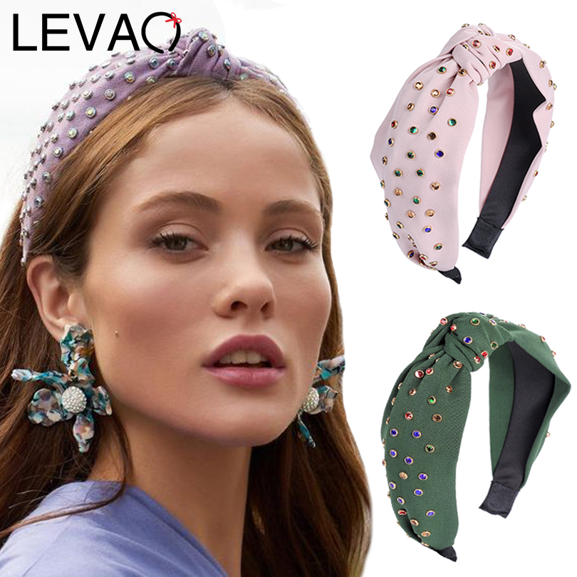 LEVAO New Color Flash Drill Wide Side Knotted Hair Ornament Bezel Turban Girls   Headwear   Headband Women Hairband Hair Accessories