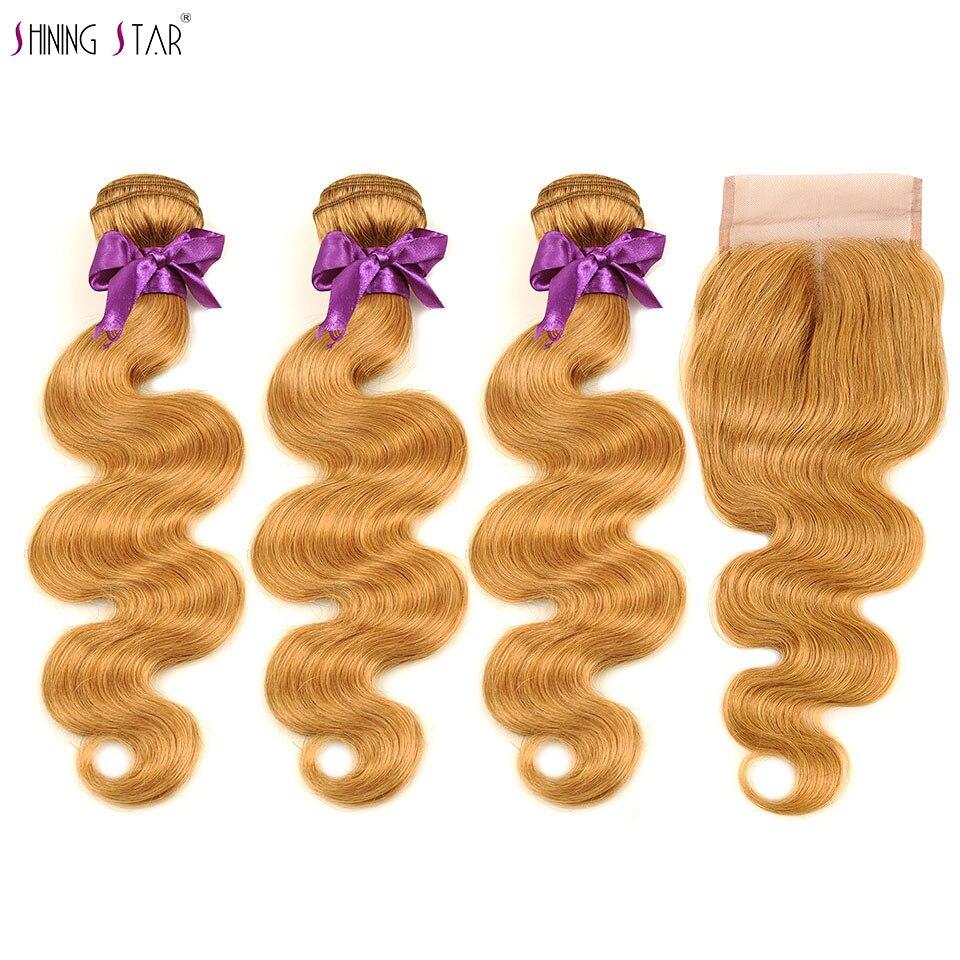 3 brésilien Miel Blonde Bundles Avec Fermeture Couleur 27 Corps Vague Bundles Avec Fermeture de Cheveux Humains Armure Pleine ShiningStar NoRemy