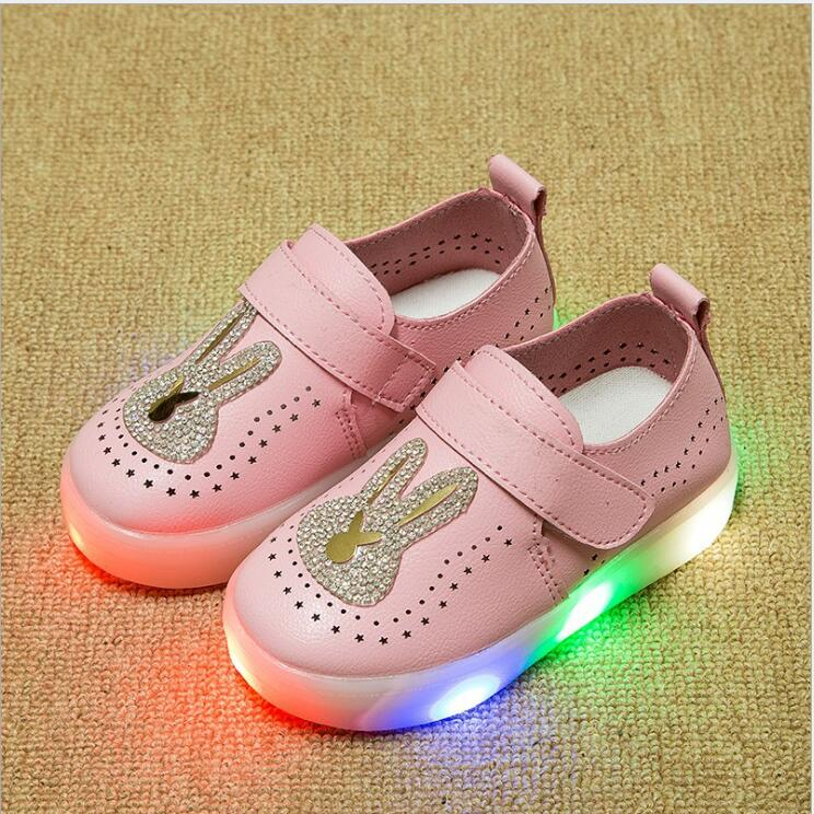 kids shoes with light 2016 spring summer girls shoes chaussure led enfant child Lovely rabbit fashion breathable shoes EU21-25