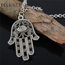 PINKSEE Hot Hamsa Hand Necklace Alloy Pendant Necklaces Women Men Link Chain Amulet Hands of Fatima Jewelry(China)