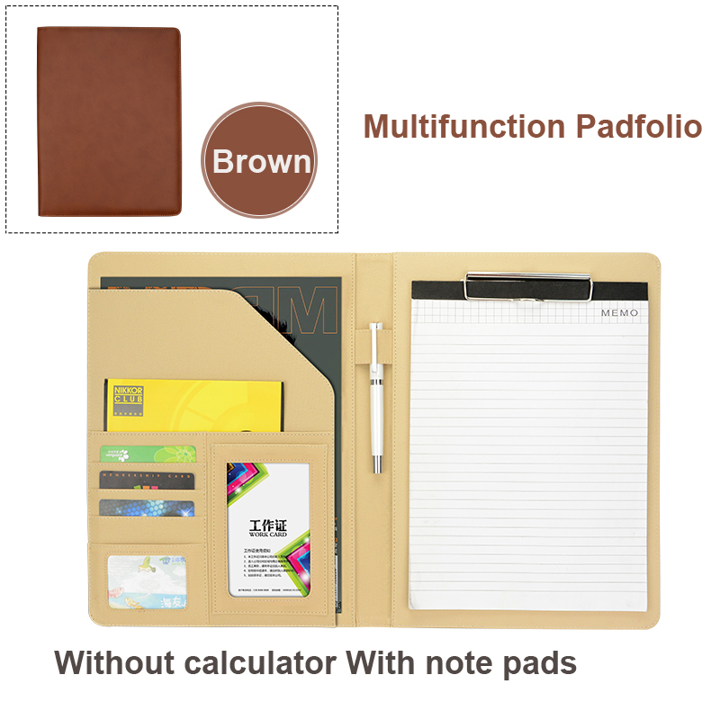Business Padfolio Portfolio with Letter Size Writing Notepads  Deluxe Executive Vintage Brown Leather Padfolio - New