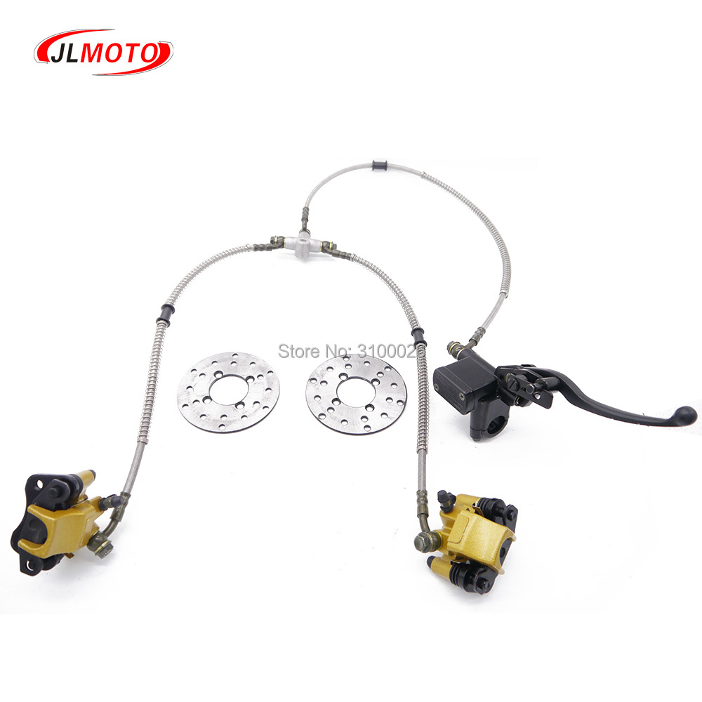 1Set 2 In 1 Front Handle Lever Hydraulic Disc Brake 108mm Disc Fit For ATV 50cc 110cc 49cc Bike Go Kart Buggy UTV Scooter Parts