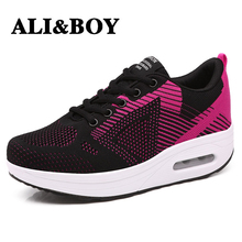 ALIBOY Slimming Mother shoes woman on platform sneaker wedges swing toning fitness sneakers women Outdoor walking shoes female