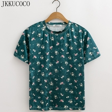 JKKUCOCO Velvet t shirt Women T-shirt Short Sleeve O-neck Casual Shirt Print little Flowers T-shirt Women Tops Summer Hot Tees