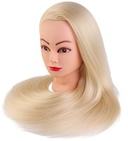 CAMMITEVER Cosmetology Mannequin Manikin Heads With Hair Salon Styling Practice Braiding Doll Head Synthetic Hair Blonde