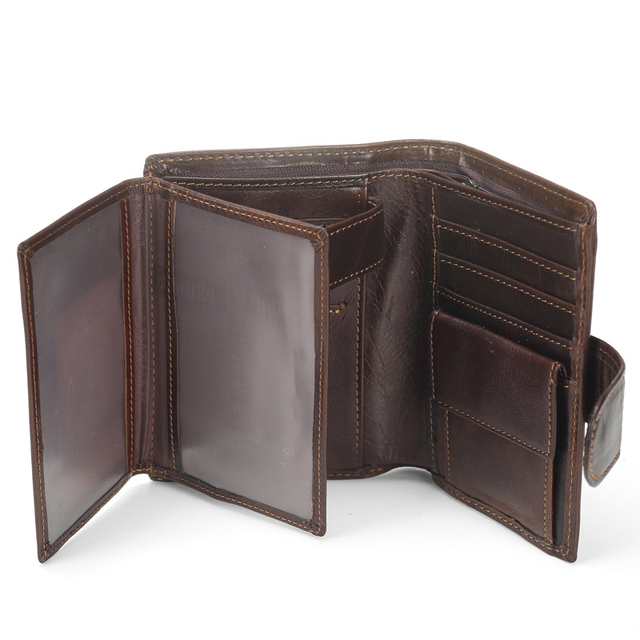 New Men's Vintage Cowhide Genuine Leather Wallets Bifold Clutch Solid Short Purses Male ID Credit Cards Holder Bag Carteira