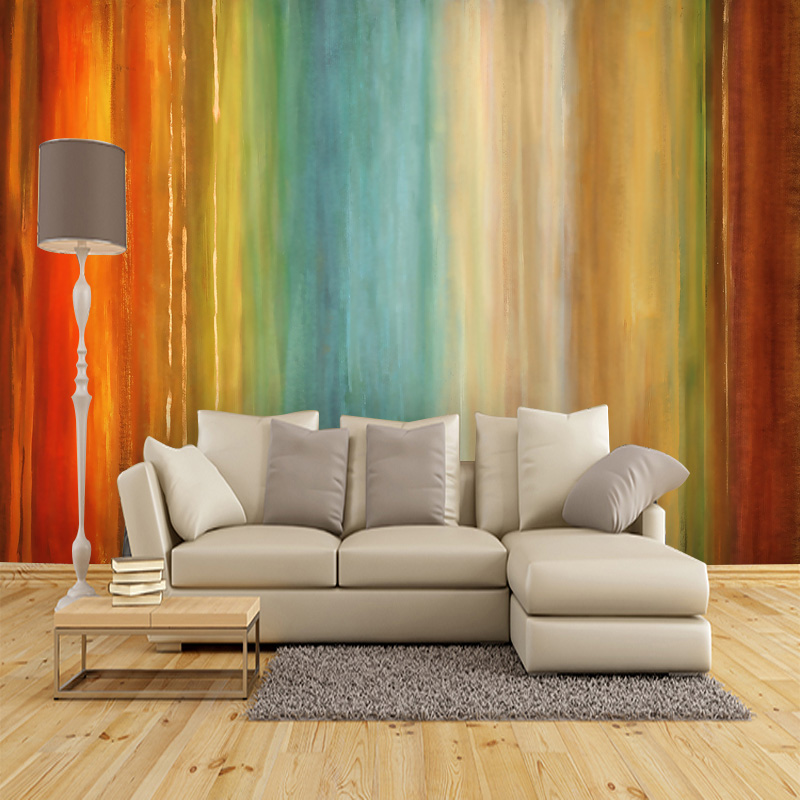 American abstract rainbow customized large mural wallpaper wallpaper modern office personality living room bedroom TV backdrop customized home personalized seamless integration of the abstract paintings lotus wallpaper 1x3m