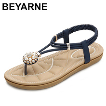 BEYARNE new Fashion Leather Women Sandals Bohemian Beading Slippers Woman Fla ts Flip Shoes Summer Beach SandalsE666
