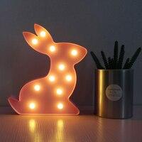 Rabbit Shaped Modelling Fairy Night Light ABS Plastic Table Desk Lamp Bedroom Atmosphere Wedding Decoration Gift