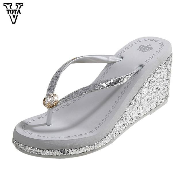 31afad4e00fec VTOTA Women Slippers Glitter Flip Flops Wedges Shoes Woman High  HeelsFashion Women Shoes Summer Slides Platform Shoes SCMXY
