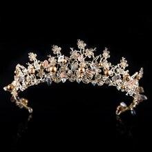 Hecho a mano de Lujo Magnífico Hairband Del Grano Cristalino Nupcial de La Vendimia Diadema Tiara de La Corona de La Boda Para La Novia Accesorios para el Cabello Desfile