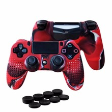 цена на 4lots New Version for Sony Dualshock 4 PS4 Pro Slim Controller Silicone Skin Case + Thumbsticks Grips Caps for Playstation 4