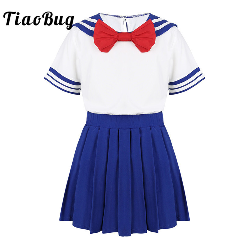 TiaoBug Kids Girls Japanese School Uniform Children Bowtie Tops T-Shirt With Pleated Skirt Set Students Cosplay Sailor Costume