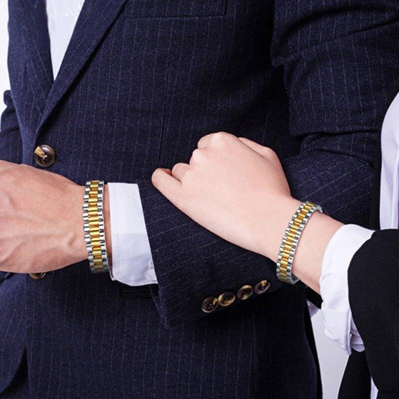 99.999% pur Germanium puce montre-Style Bracelet magnétique pour hommes femmes en acier inoxydable deux tons Bracelet Bracelet Couples bijoux - 6