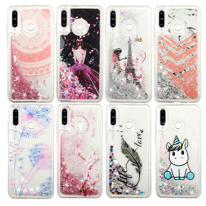 Glitter Waterfall Case Liquid Sand Quicksand Phone Soft Silicone Cases Cover Coque <font><b>Funda</b></font> for <font><b>HUAWEI</b></font> P30 Lite <font><b>Y6</b></font> Pro <font><b>Y6</b></font> Y7 <font><b>2019</b></font> image