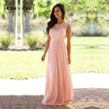 Honey Qiao Bridesmaid Dresses Blush Pink Chiffon Illusion Neck Draped Sash Applique Lace Cheap Vintage Maid of Honor Gowns