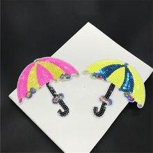 3 sztuk cekiny parasol aplikacja haftowana naszywka na ubrania naklejka materiałowa żelazko na łacie Craft szycia naprawy haftowane 13X13cm